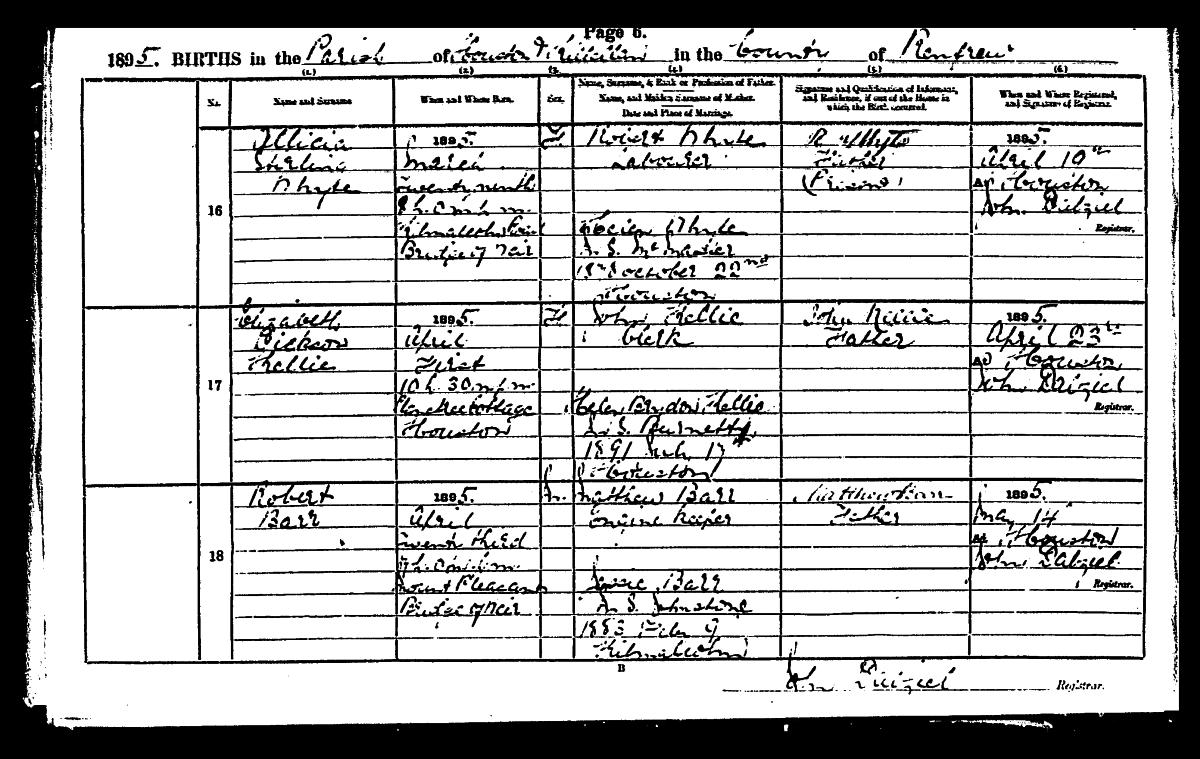 Bridge of weir memorial birth certificate 23rd april 1895 houston killellan regd 14th may 1895 aiddatafo Images