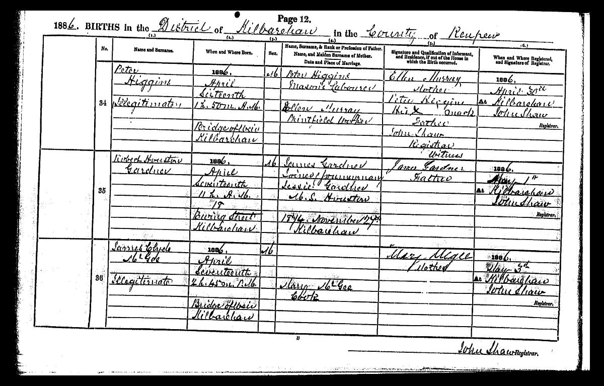 Bridge of weir memorial peter higgins birth certificate aiddatafo Gallery