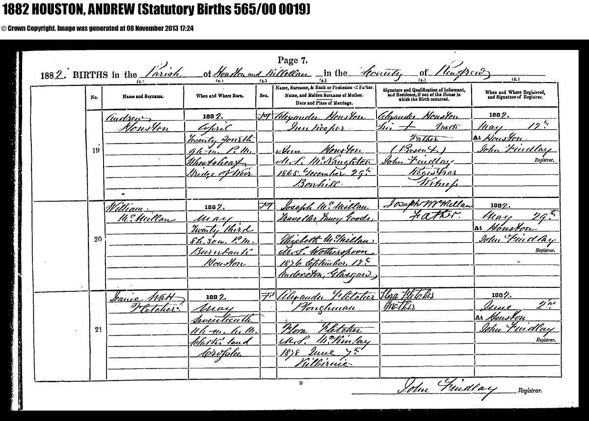 Bridge of weir memorial andrew houston birth certificate 24th april 1882 aiddatafo Gallery