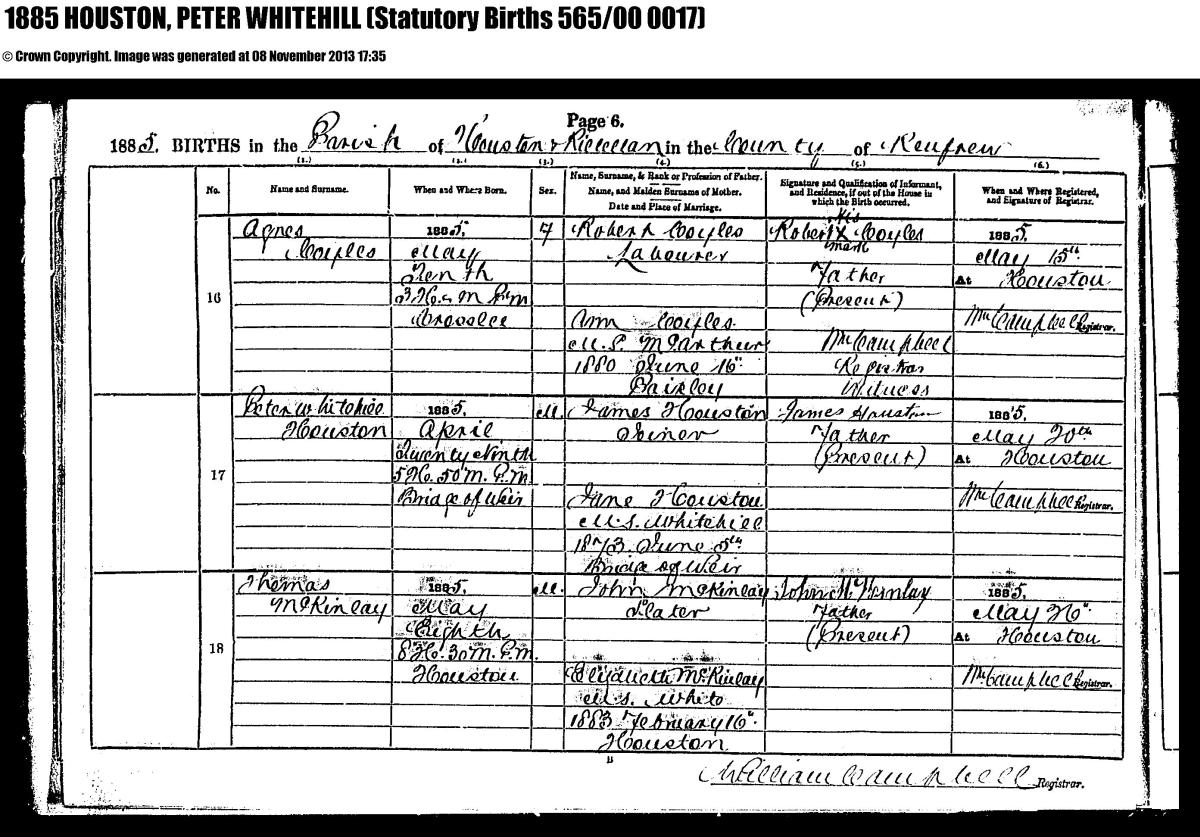 Bridge of weir memorial peter whitehill houston birth certificate aiddatafo Gallery